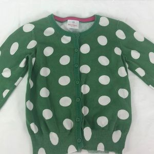 Hanna Anderson Girls Polka Dot Cardigan Sweater
